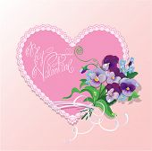 Bouquet Of Beautiful Pansy And Forget Me Not Flowers, Lace Heart And Calligraphic Text Be My Valenti