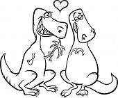 Dinos In Love Cartoon Coloring Page