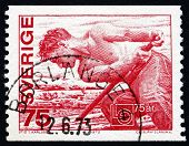 Postage Stamp Sweden 1973 Worker