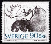Selo postal Suécia 1967 alces, Alces, Alces, Animal