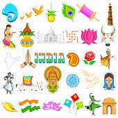 picture of indian flag  - illustration of set of Indian icon showing festivals in India - JPG