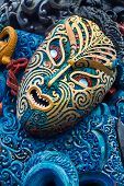Colorful Maori Carved Face