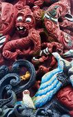 stock photo of maori  - Wonderful mixture of some Maori wooden carving - JPG