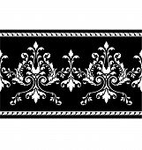 stock photo of fleur de lis  - Scrollwork floral border pattern for a wedding party invitation or ad frame - JPG