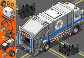 Isometric White Garbage Truck In Rear View