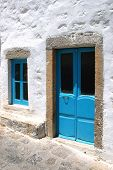 Door and window in blue