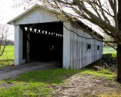 stock photo of covered bridge  - Covered bridge over Mill Creek on South Denmark Road - JPG
