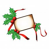 pic of christmas cards  - Christmas card with holly ornaments and ribbons - JPG