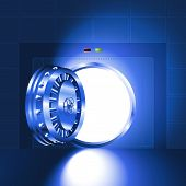 Light open door safe blue