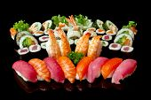 picture of sushi  - Asian gourmets 12 Japanese sushi on a black background - JPG