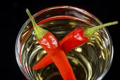 Red Hot Pepper Vodka Or Tequila Shooter In Close