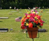 Flower Bouquet At Grave Site