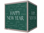Happy New Year Word Cloud Concept On A 3D Cube Blackboard
