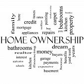 Home Ownership Word Cloud Concept In Black And White