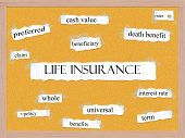 Life Insurance Corkboard Word Concept