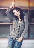 Soft fashion style photo of beautiful young brunette woman