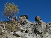 Limestone formation in Manang, Nepal