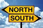 foto of opposites  - North or south opposite signs - JPG