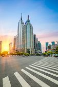 Shanghai Century Avenue In Sunset