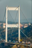 ISTANBUL - November4: The tower of FSM (Fatih Sultan Mehmet Bridge) on November 4, 2013 in Istanbul,