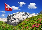 Mount Monte Rosa with Swiss flag - Swiss Alps