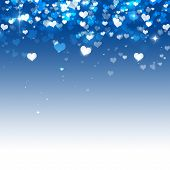 Many Hearts On Blue Background