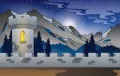 Background castle in mountain 1 - eps10 vector illustration.