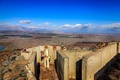 stock photo of golan-heights  - Fortifications on Mount Bental on the border between Israel and Syria - JPG