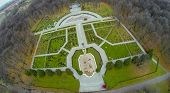 Rosarium in the botanical garden with footpath, view from unmanned quadrocopter.