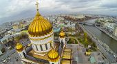 MOSCOW - OCT 20: View from unmanned quadrocopter on beautiful Christ the Savior Cathedral with gilde