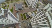 MOSCOW - OCT 21: Tall multistorey Hotels in Izmailovo, housing Alpha, Beta and Gamma with car parking (view from unmanned quadrocopter) on October 21, 2013 in Moscow, Russia.