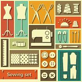 Vector Flat Sewing Icons Set