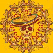 stock photo of sombrero  - Skull in sombrero Day of The Dead - JPG