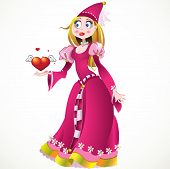 Princess in pink dress giving heart and love