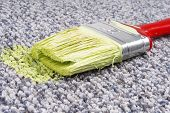 stock photo of unawares  - close up of the paint brush on stained carpet