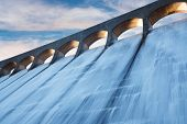 stock photo of hydroelectric  - Clatteringshaws Loch reservoir in Galloway Forest Park damming the Black Water of Dee to feed Glenlee hydro Power Station
