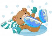 Illustration of cute bear fell to the ice rink. Raster version.