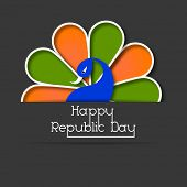 Happy Indian Republic Day concept with national bird peacock with flag colors feathers on grey background.