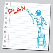 Businessman write word PLAN