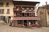 Swiss Cafe In Gruyeres, Switzerland