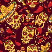 image of sombrero  - Skull in sombrero Day of The Dead - JPG