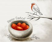 Easter Greeting - Hand drawn pencil-ink Easter illustration, with bird perched on branch and bright