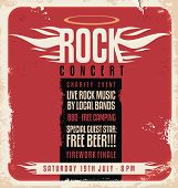 pic of stage decoration  - Rock concert retro poster design template on old paper texture - JPG