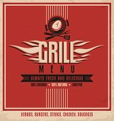 image of grilled sausage  - Grill menu retro flyer design template - JPG
