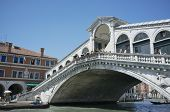 VENICE, VENETO, ITALY - MAY 24, 2011: Famous Rialto bridge on Grand Canal. May 24, 2011 in Venice, V