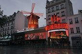 PARIS, FRANCE - MAY 17: Exterior of famous nightclub Moulin Rouge May 17, 2010 in Paris, France