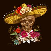 image of day dead skull  - Skull in sombrero with flowers Day of The Dead - JPG