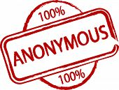 An illustrated stamp that says something is 100% anonymous. All on white background.