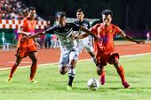 Sisaket Thailand-may 28: Adul Lahso Of Chonburi Fc. (white) In Action During Thai Premier League Bet
