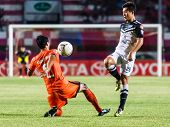 Sisaket Thailand-may 28: Bavorn Tapla Of Chonburi Fc. (white) In Action During Thai Premier League B